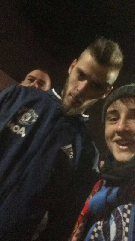 Sligo member Adam with De Gea after United v West Ham 27/11/2016