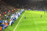the away fans view at Leicester